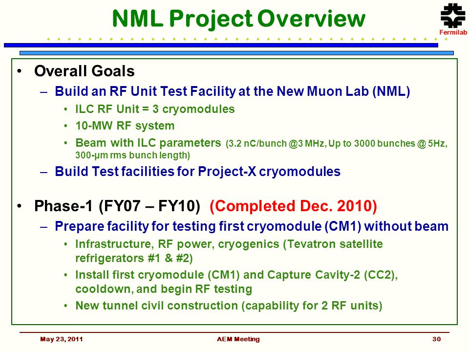 AEM Meeting NML Project Overview Overall Goals –Build an RF Unit Test Facility at the New Muon Lab (NML) ILC RF Unit = 3 cryomodules 10-MW RF system Beam with ILC parameters (3.2 nC/bunch @3 MHz, Up to 3000 bunches @ 5Hz, 300-μm rms bunch length) –Build Test facilities for Project-X cryomodules Phase-1 (FY07 – FY10) (Completed Dec.