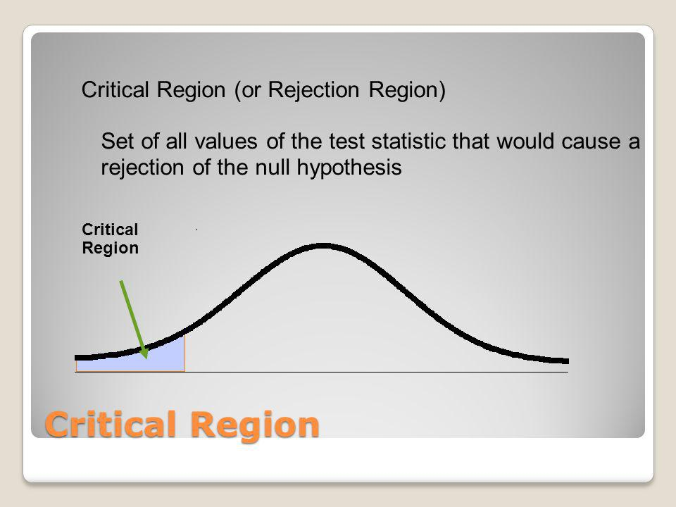 Critical Region Critical Region (or Rejection Region) Set of all values of the test statistic that would cause a rejection of the null hypothesis Crit