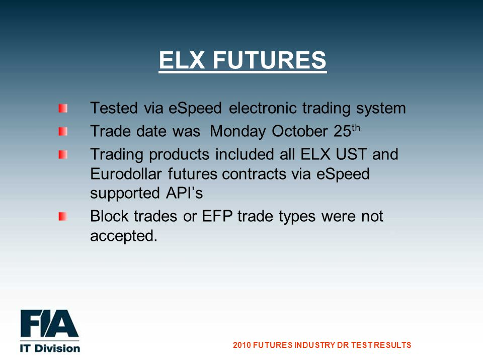 CG Consultants to the Financial Services Industry 2010 FUTURES INDUSTRY DR TEST RESULTS Tested via eSpeed electronic trading system Trade date was Monday October 25 th Trading products included all ELX UST and Eurodollar futures contracts via eSpeed supported APIs Block trades or EFP trade types were not accepted.
