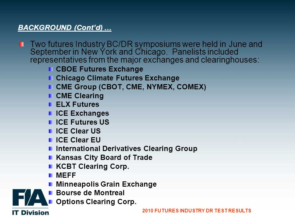 CG Consultants to the Financial Services Industry 2010 FUTURES INDUSTRY DR TEST RESULTS Two futures Industry BC/DR symposiums were held in June and September in New York and Chicago.
