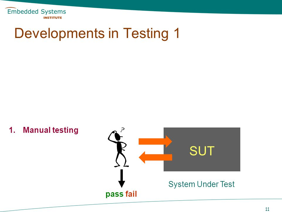 11 SUT System Under Test pass fail Developments in Testing 1 1.Manual testing