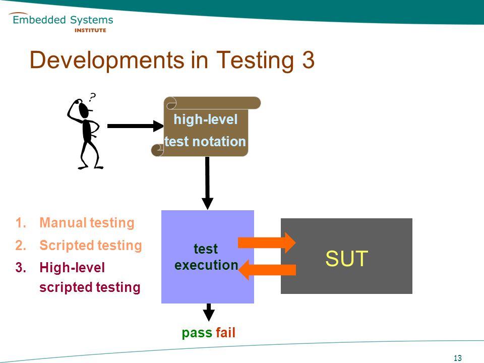 13 SUT pass fail test execution 1.Manual testing 2.Scripted testing 3.High-level scripted testing Developments in Testing 3 high-level test notation