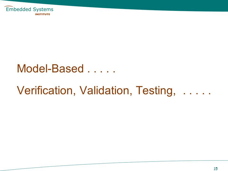 15 Model-Based..... Verification, Validation, Testing,.....
