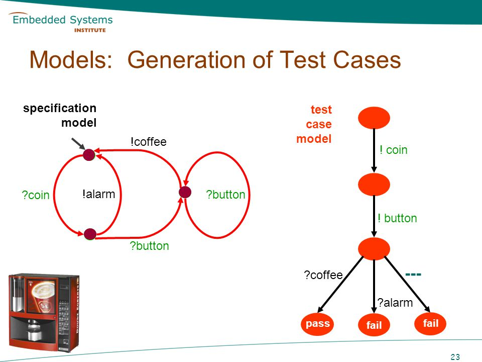 24 specification model Models: Generation of Test Cases ?coin ?button !alarm ?button !coffee test case model .