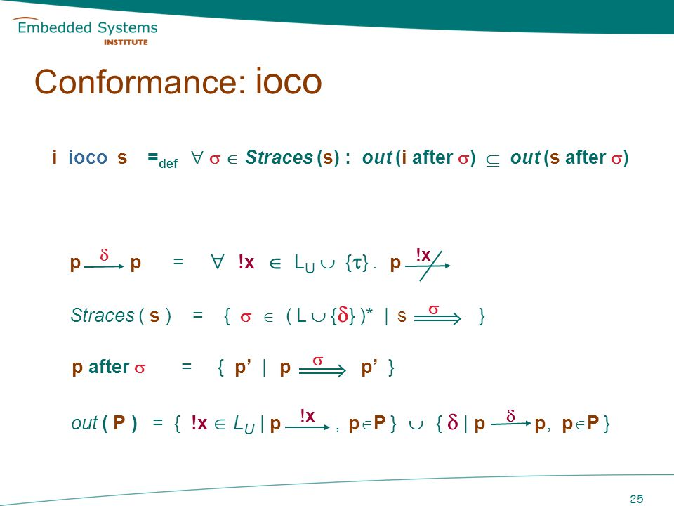 26 i ioco s = def Straces (s) : out (i after ) out (s after ) Intuition: i ioco - conforms to s, iff if i produces output x after trace, then s can produce x after if i cannot produce any output after trace, then s cannot produce any output after ( quiescence ) Conformance: ioco