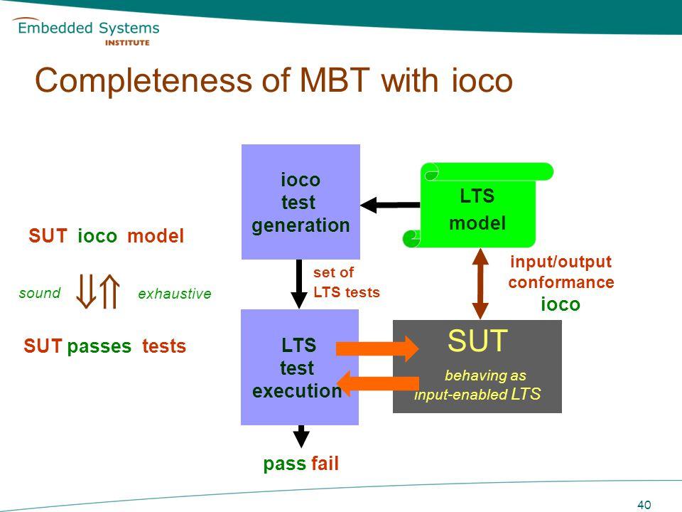 40 LTS model SUT behaving as input-enabled LTS TTCN Test cases pass fail LTS test execution ioco test generation input/output conformance ioco set of