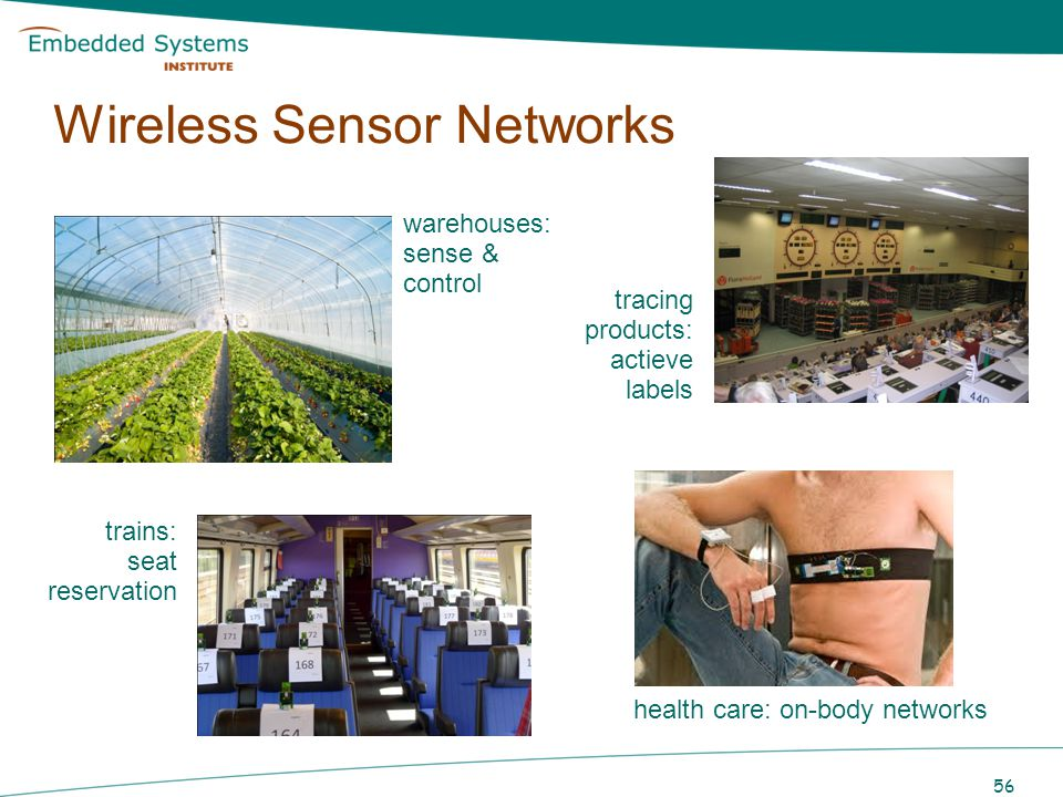 56 warehouses: sense & control tracing products: actieve labels trains: seat reservation health care: on-body networks Wireless Sensor Networks