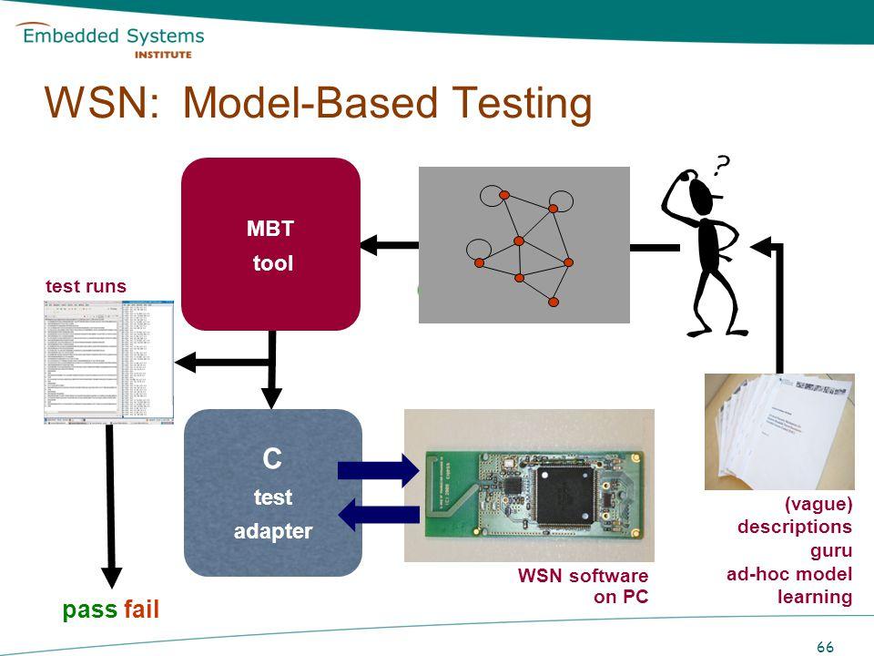 SUT 66 TTCN Test cases model-based test generation WSN: Model-Based Testing system model MBT tool C test adapter pass fail test runs WSN software on P