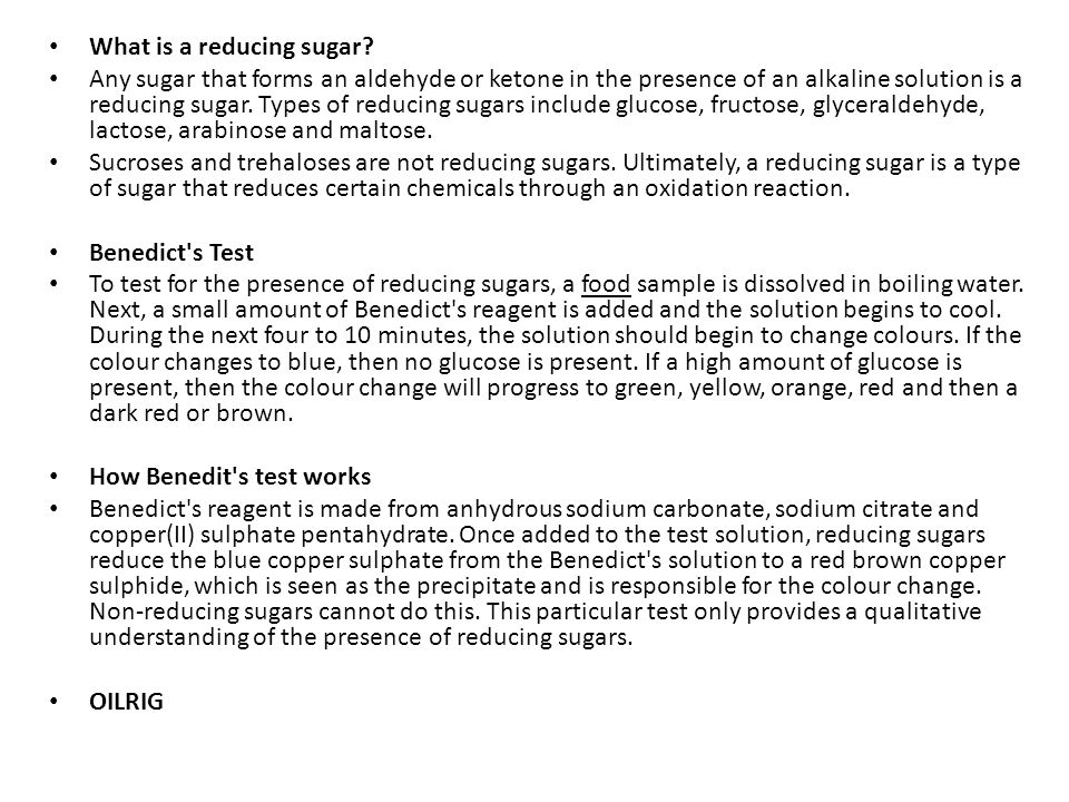 What is a reducing sugar.