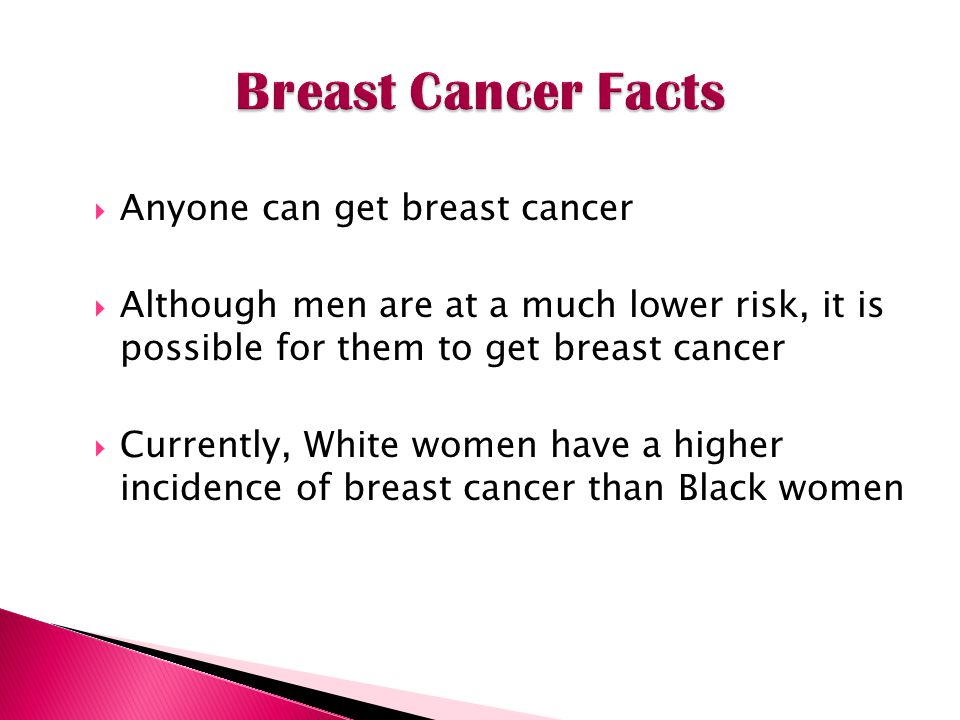 Anyone can get breast cancer Although men are at a much lower risk, it is possible for them to get breast cancer Currently, White women have a higher incidence of breast cancer than Black women