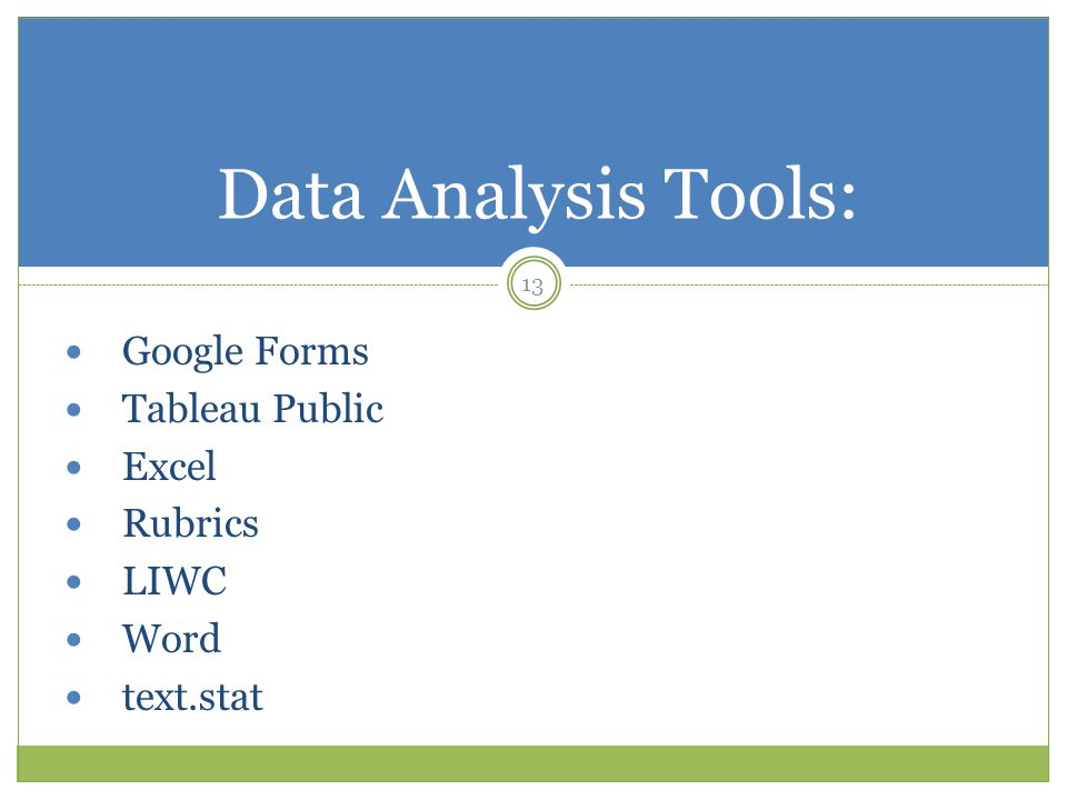 13 Data Analysis Tools: Google Forms Tableau Public Excel Rubrics LIWC Word text.stat