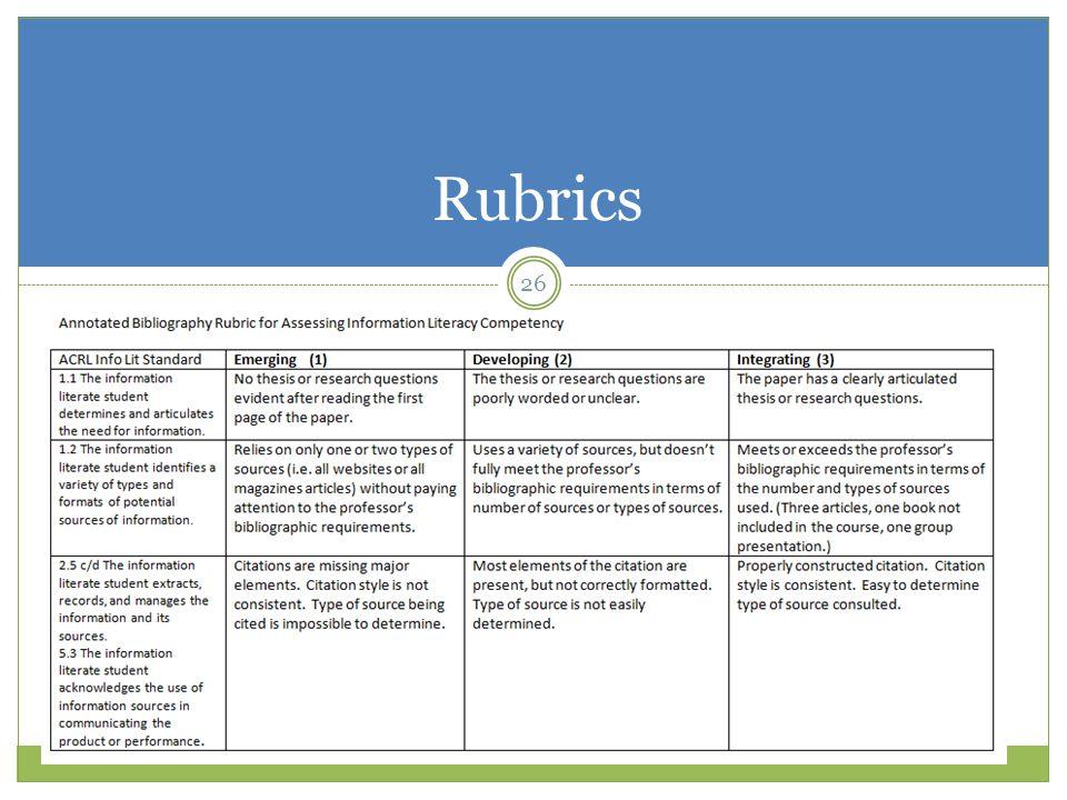 Rubrics 26