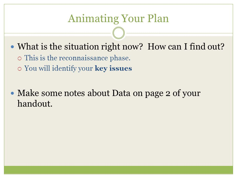 Animating Your Plan What is the situation right now.