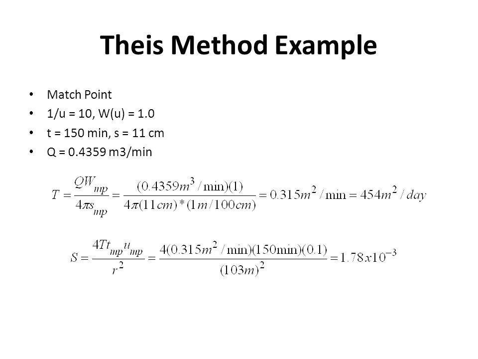 Theis Method Example Match Point 1/u = 10, W(u) = 1.0 t = 150 min, s = 11 cm Q = 0.4359 m3/min