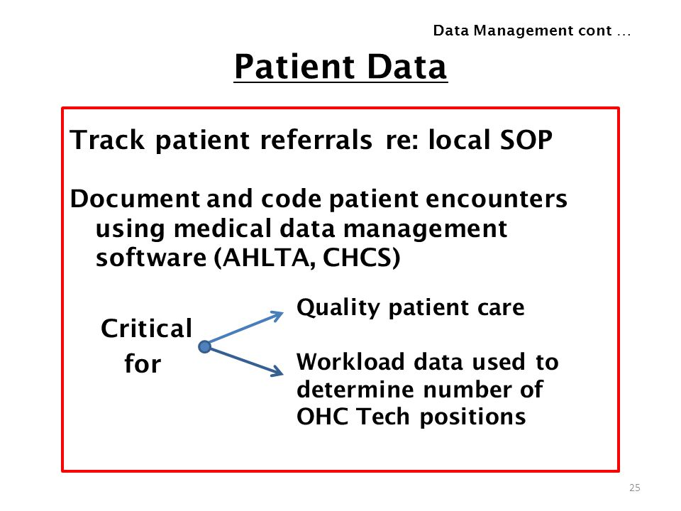 Patient Data Track patient referrals re: local SOP Document and code patient encounters using medical data management software (AHLTA, CHCS) Critical