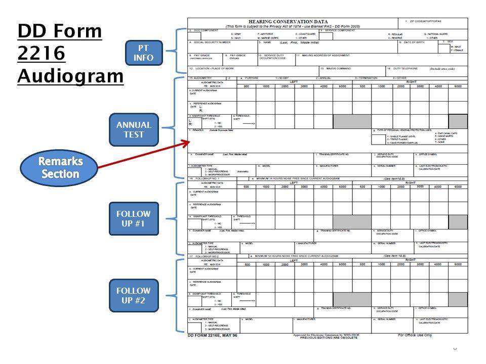 8 DD Form 2216 Audiogram ANNUAL TEST FOLLOW UP #1 FOLLOW UP #2 PT INFO
