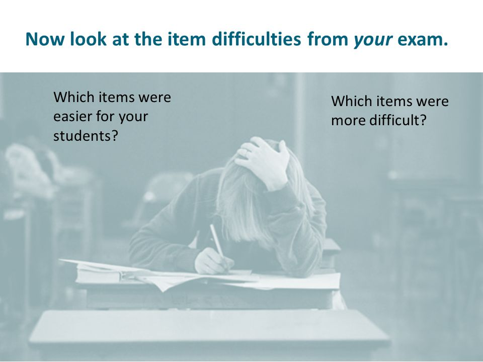 Now look at the item difficulties from your exam. Which items were easier for your students.