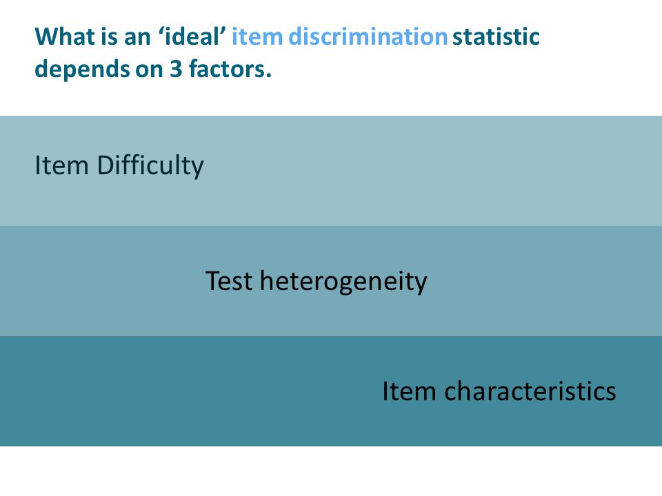 Item Difficulty Test heterogeneity Item characteristics What is an ideal item discrimination statistic depends on 3 factors.