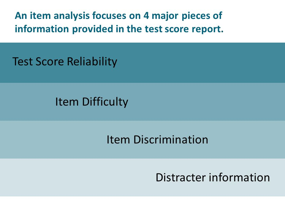 An item analysis focuses on 4 major pieces of information provided in the test score report.