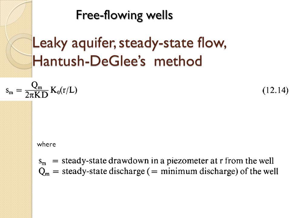 Leaky aquifer, steady-state flow, Hantush-DeGlees method where Free-flowing wells