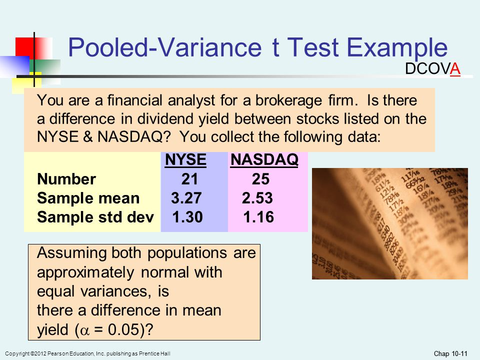 Chap 10-11 Copyright ©2012 Pearson Education, Inc. publishing as Prentice Hall Chap 10-11 Pooled-Variance t Test Example You are a financial analyst f