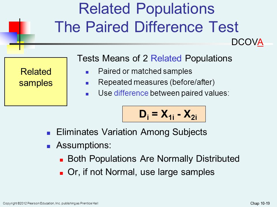 Chap 10-19 Copyright ©2012 Pearson Education, Inc. publishing as Prentice Hall Chap 10-19 Related Populations The Paired Difference Test Tests Means o