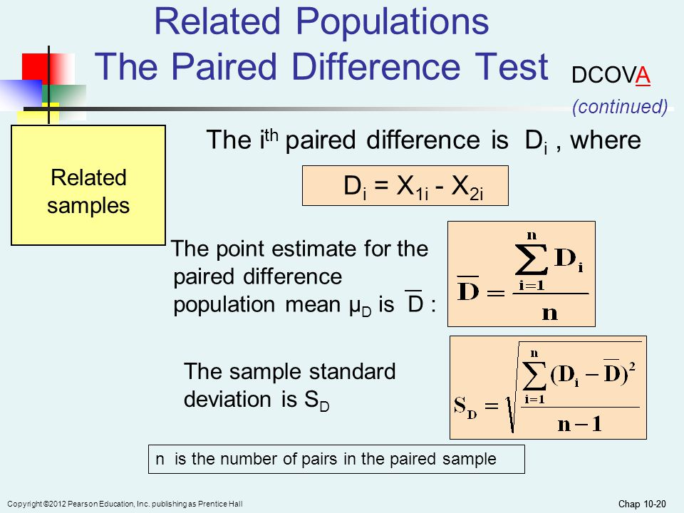 Chap 10-20 Copyright ©2012 Pearson Education, Inc. publishing as Prentice Hall Chap 10-20 Related Populations The Paired Difference Test The i th pair