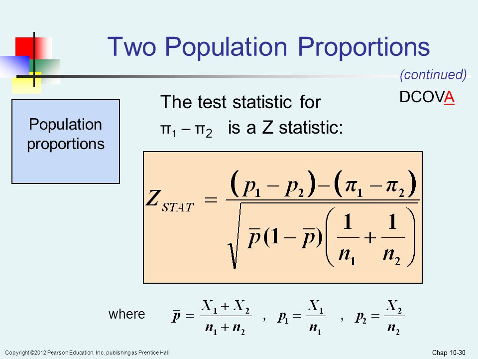 Chap 10-30 Copyright ©2012 Pearson Education, Inc. publishing as Prentice Hall Chap 10-30 Two Population Proportions Population proportions The test s