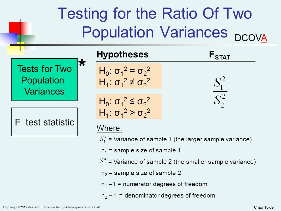 Chap 10-39 Copyright ©2012 Pearson Education, Inc. publishing as Prentice Hall Chap 10-39 Testing for the Ratio Of Two Population Variances Tests for