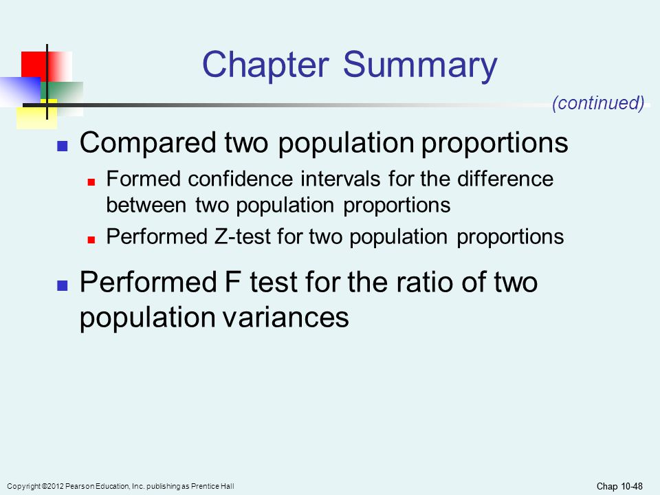 Chap 10-48 Copyright ©2012 Pearson Education, Inc. publishing as Prentice Hall Chap 10-48 Chapter Summary Compared two population proportions Formed c