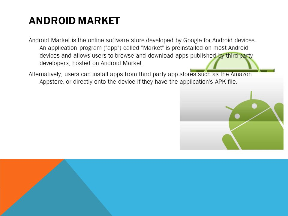 ANDROID MARKET Android Market is the online software store developed by Google for Android devices. An application program (