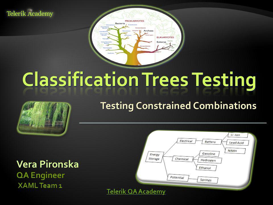 Testing Constrained Combinations Vera Pironska QA Engineer XAML Team 1 XAML Team 1 Telerik QA Academy Telerik QA Academy