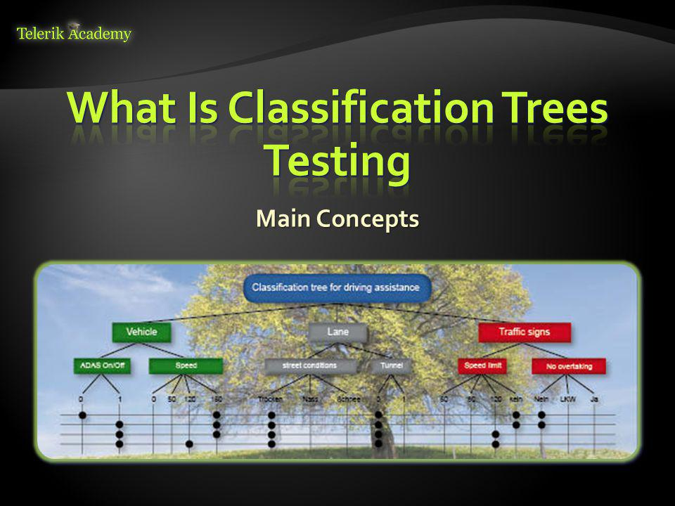 Classes have to be identified for each classification Classes have to be identified for each classification Performed by using standard equivalence partitioning and boundary value analysis Performed by using standard equivalence partitioning and boundary value analysis Classifications identification can be recursively applied to classes Classifications identification can be recursively applied to classes 14