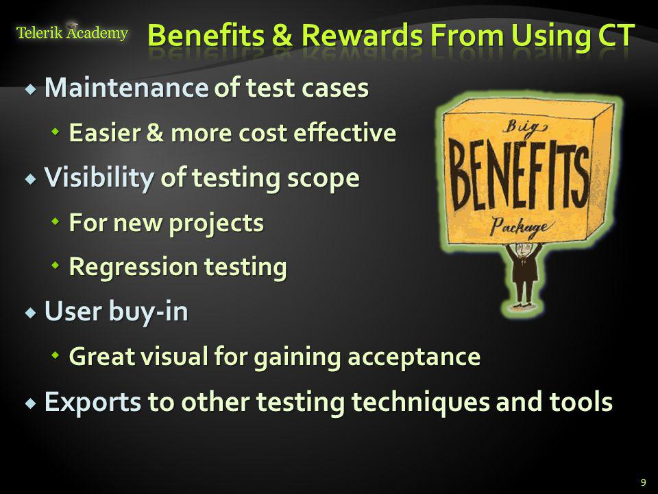 Maintenance of test cases Maintenance of test cases Easier & more cost effective Easier & more cost effective Visibility of testing scope Visibility of testing scope For new projects For new projects Regression testing Regression testing User buy-in User buy-in Great visual for gaining acceptance Great visual for gaining acceptance Exports to other testing techniques and tools Exports to other testing techniques and tools 9