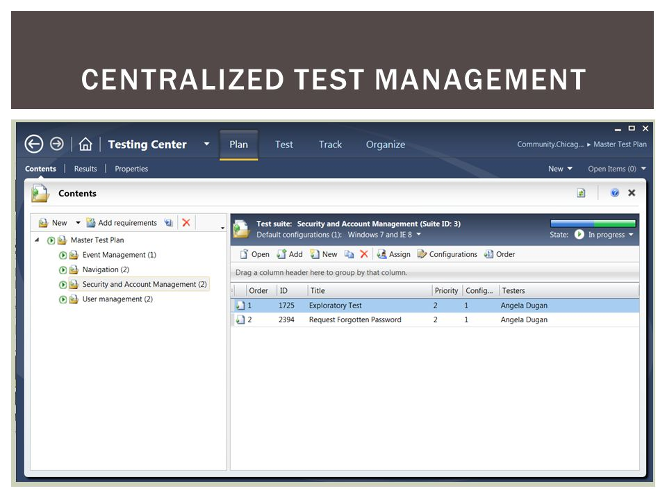 CENTRALIZED TEST MANAGEMENT
