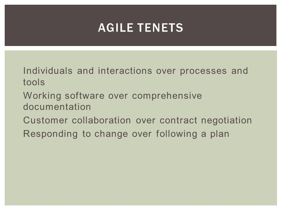 Embraces uncertainty, software IS uncertain Empirical (based on experience and observation) Continuous improvement Forecast rather than commitment Self-organization and estimation by the do-ers It is not the devil, but it CAN be evil if its prescribed techniques are abused WHAT IS THIS AGILE THING ANYWAY?