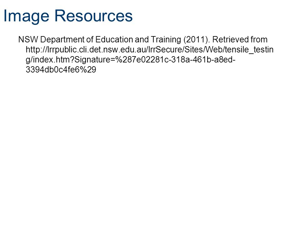 Image Resources NSW Department of Education and Training (2011).