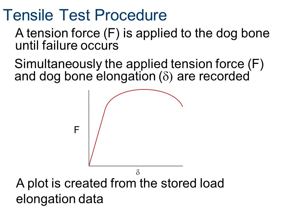 Tensile Test Procedure A tension force (F) is applied to the dog bone until failure occurs Simultaneously the applied tension force (F) and dog bone elongation ( are recorded A plot is created from the stored load elongation data F