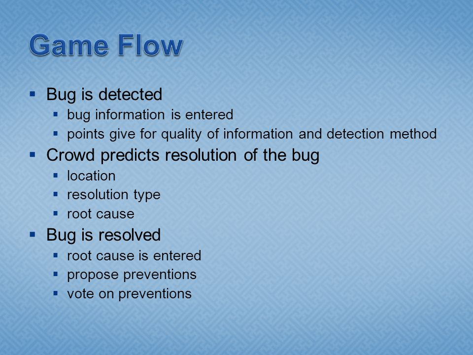 Bug is detected bug information is entered points give for quality of information and detection method Crowd predicts resolution of the bug location resolution type root cause Bug is resolved root cause is entered propose preventions vote on preventions