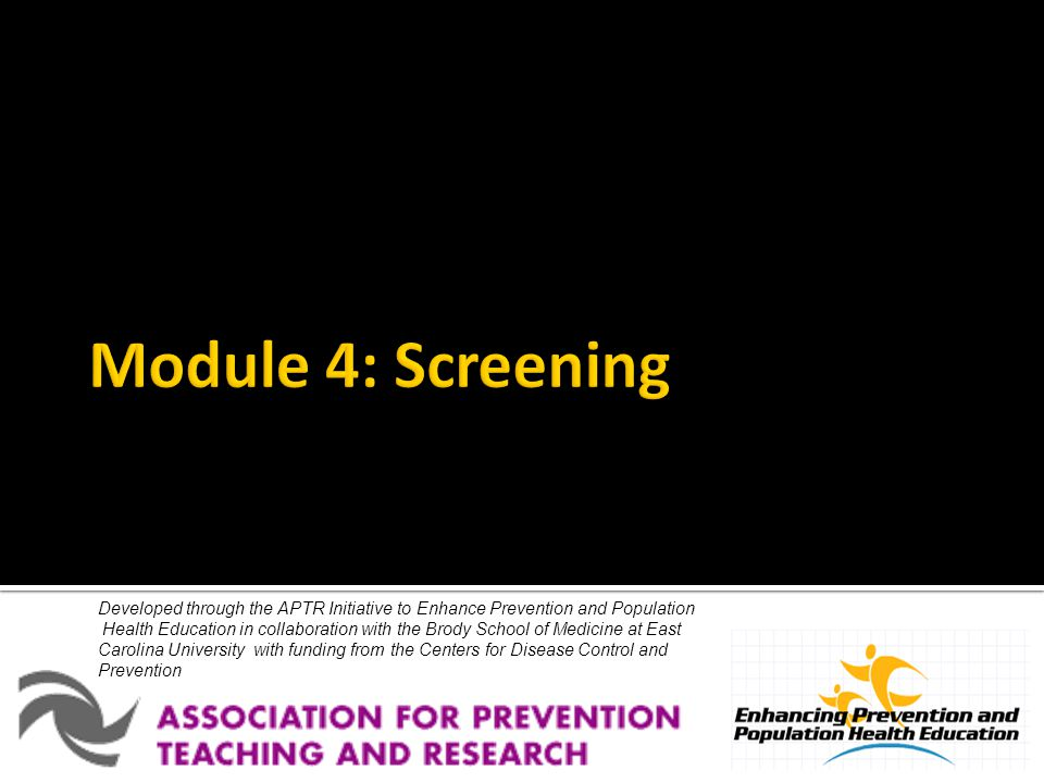 Developed through the APTR Initiative to Enhance Prevention and Population Health Education in collaboration with the Brody School of Medicine at East Carolina University with funding from the Centers for Disease Control and Prevention