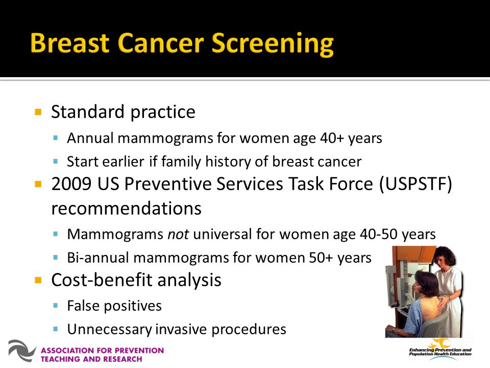 Standard practice Annual mammograms for women age 40+ years Start earlier if family history of breast cancer 2009 US Preventive Services Task Force (U