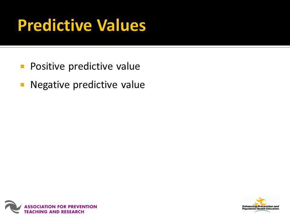Positive predictive value Negative predictive value