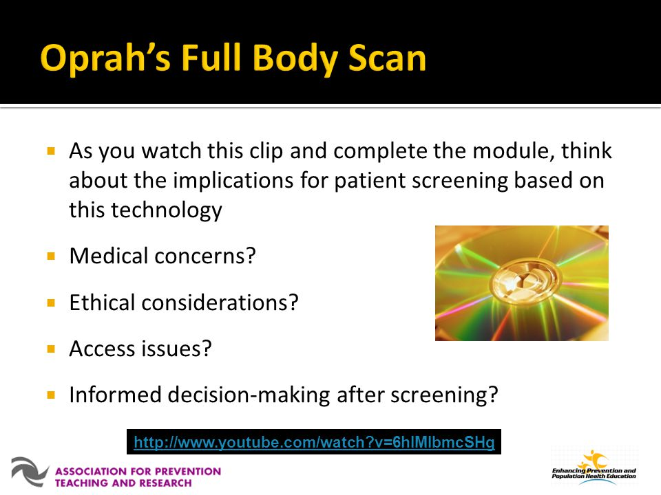 As you watch this clip and complete the module, think about the implications for patient screening based on this technology Medical concerns.