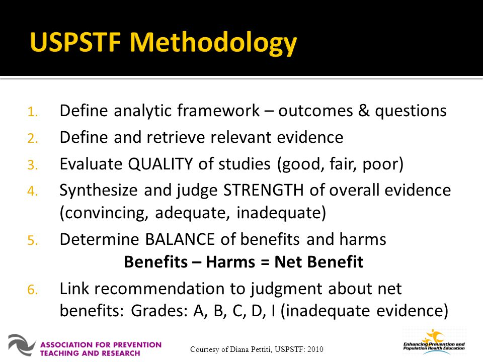 1. Define analytic framework – outcomes & questions 2. Define and retrieve relevant evidence 3. Evaluate QUALITY of studies (good, fair, poor) 4. Synt