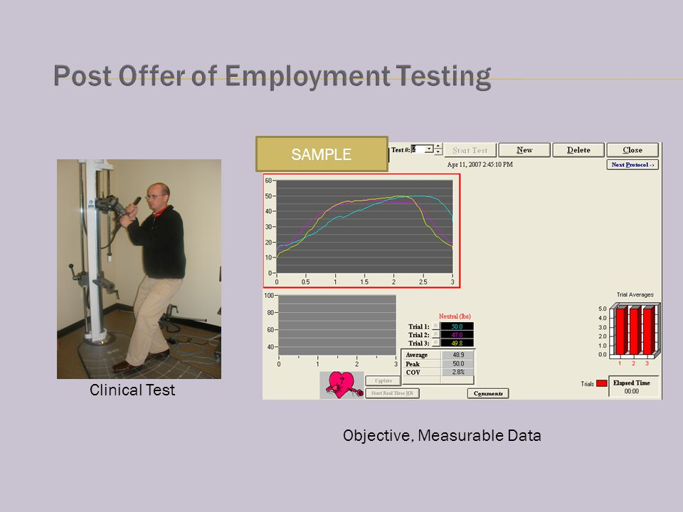 Clinical Test Objective, Measurable Data SAMPLE