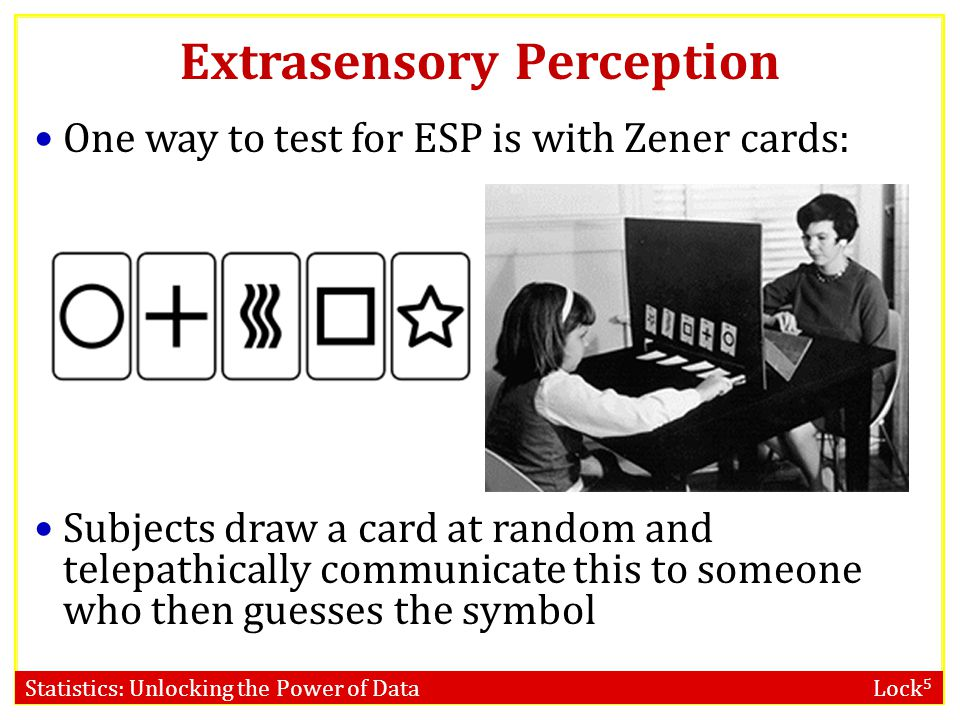 Statistics: Unlocking the Power of Data Lock 5 Extrasensory Perception One way to test for ESP is with Zener cards: Subjects draw a card at random and