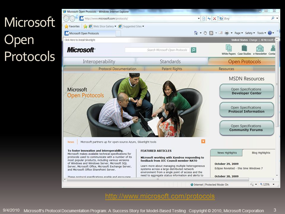 Microsoft Open Protocols Microsoft s Protocol Documentation Program: A Success Story for Model-Based Testing Copyright © 2010, Microsoft Corporation http://www.microsoft.com/protocols 9/4/2010 3