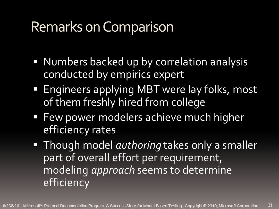 Remarks on Comparison Numbers backed up by correlation analysis conducted by empirics expert Engineers applying MBT were lay folks, most of them freshly hired from college Few power modelers achieve much higher efficiency rates Though model authoring takes only a smaller part of overall effort per requirement, modeling approach seems to determine efficiency Microsoft s Protocol Documentation Program: A Success Story for Model-Based Testing Copyright © 2010, Microsoft Corporation 9/4/2010 31