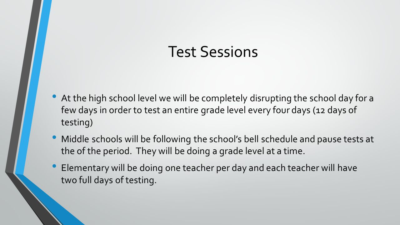 Test Sessions At the high school level we will be completely disrupting the school day for a few days in order to test an entire grade level every four days (12 days of testing) Middle schools will be following the schools bell schedule and pause tests at the of the period.