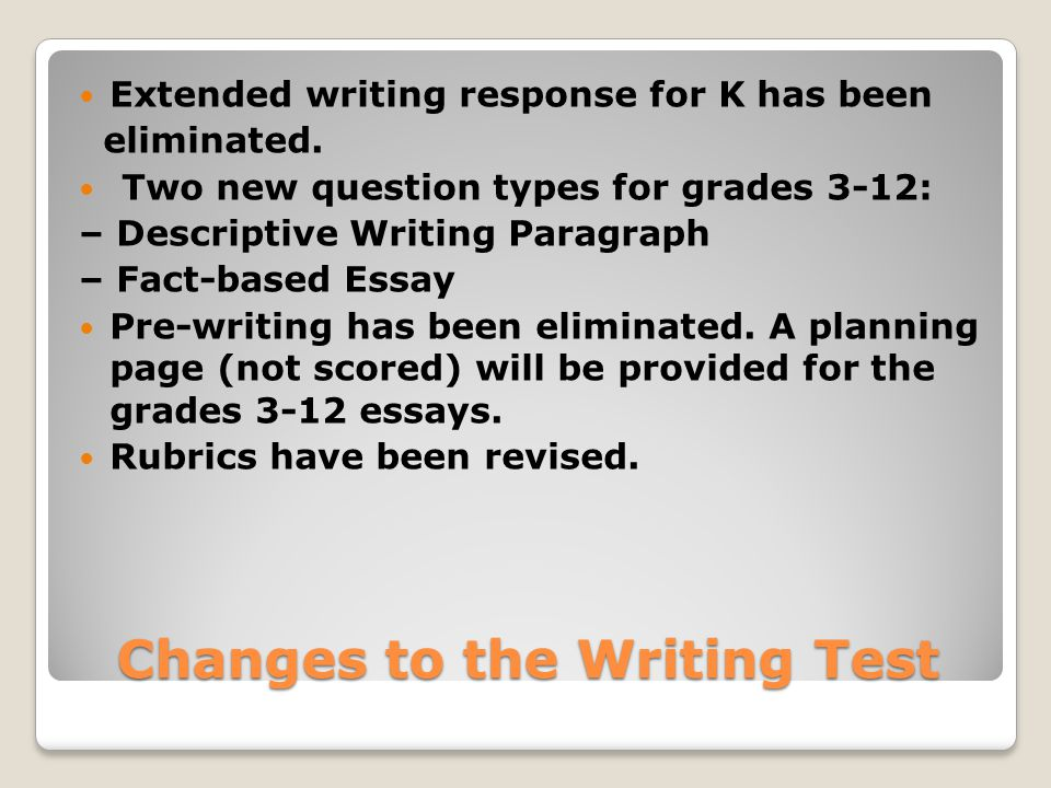 Changes to the Writing Test Extended writing response for K has been eliminated.